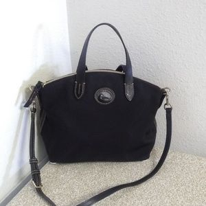 Dooney And Bourke Black Fabric Leather Trim Bag